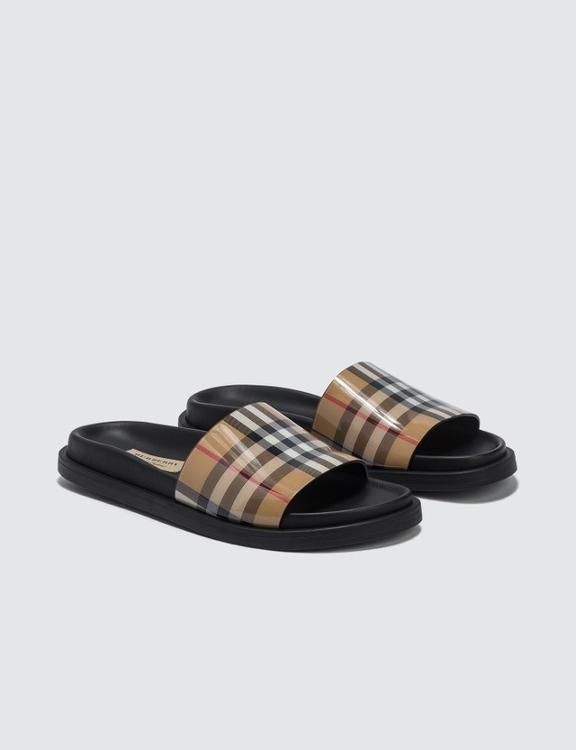 Burberry Vintage Check and Leather Slides