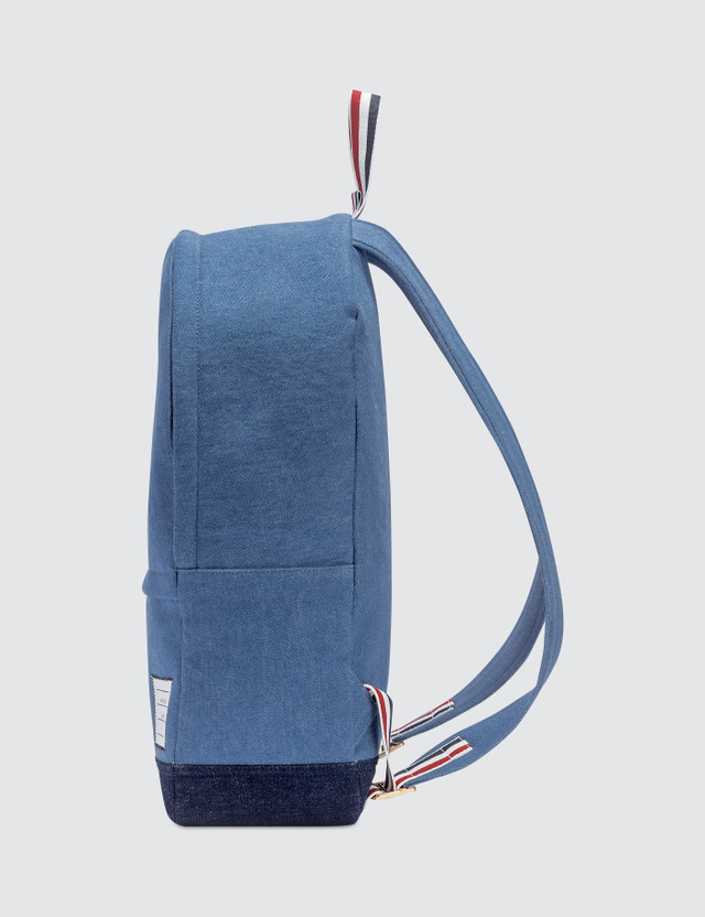 Thom Browne Unstructured Backpack In Washed Denim + Pebble Grain