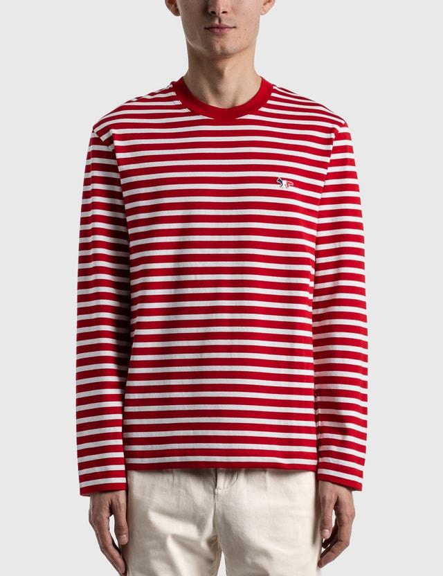 Maison Kitsune Tricolor Fox Patch Long Sleeve T-shirt Red Men