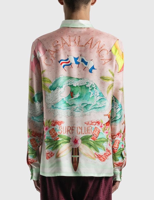 Casablanca Surf Club Midnight Print Silk Shirt Pink Men