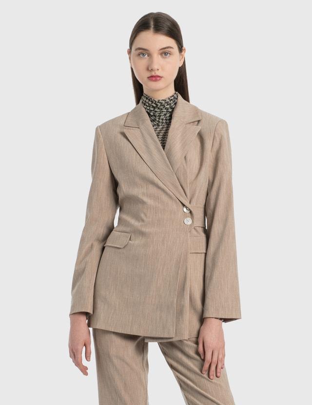 Ganni Melange Suiting Blazer Tannin Women