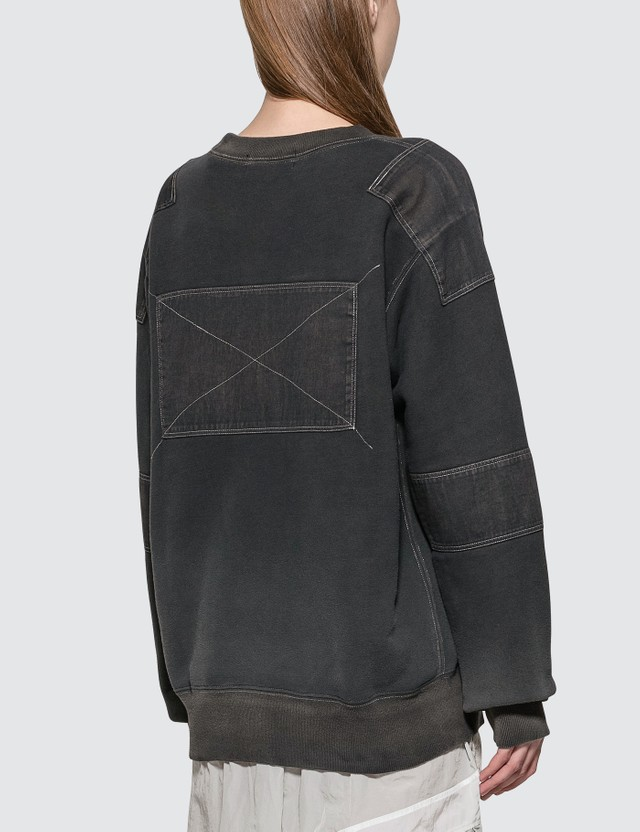 Ambush Bleach Patchwork Sweat Shirt Black Women