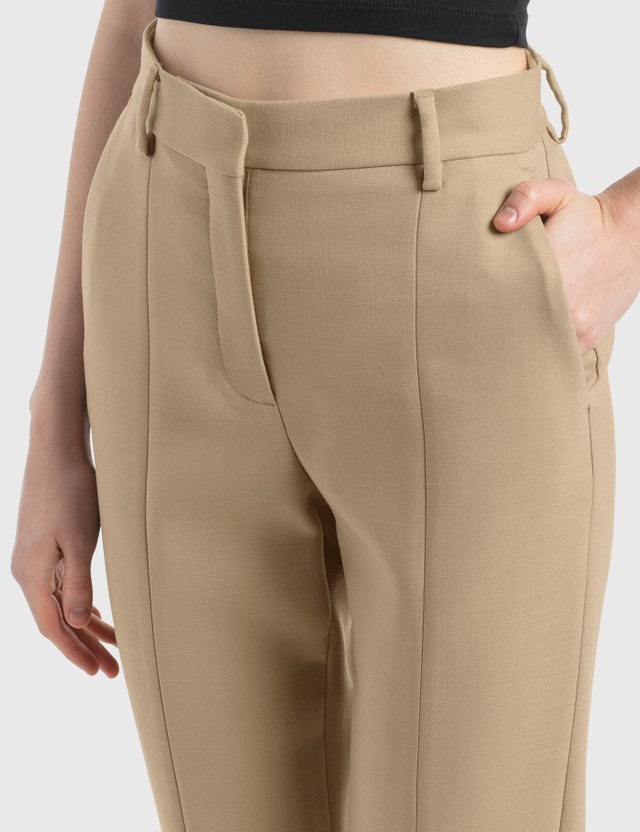 MM6 Maison Margiela Straight Pants With Zip Detail Nude Women