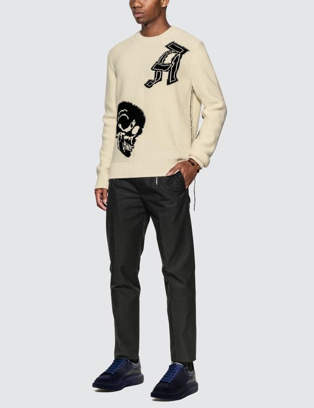 Alexander McQueen 스컬 크루 넥 풀오버 Ivory/black Men