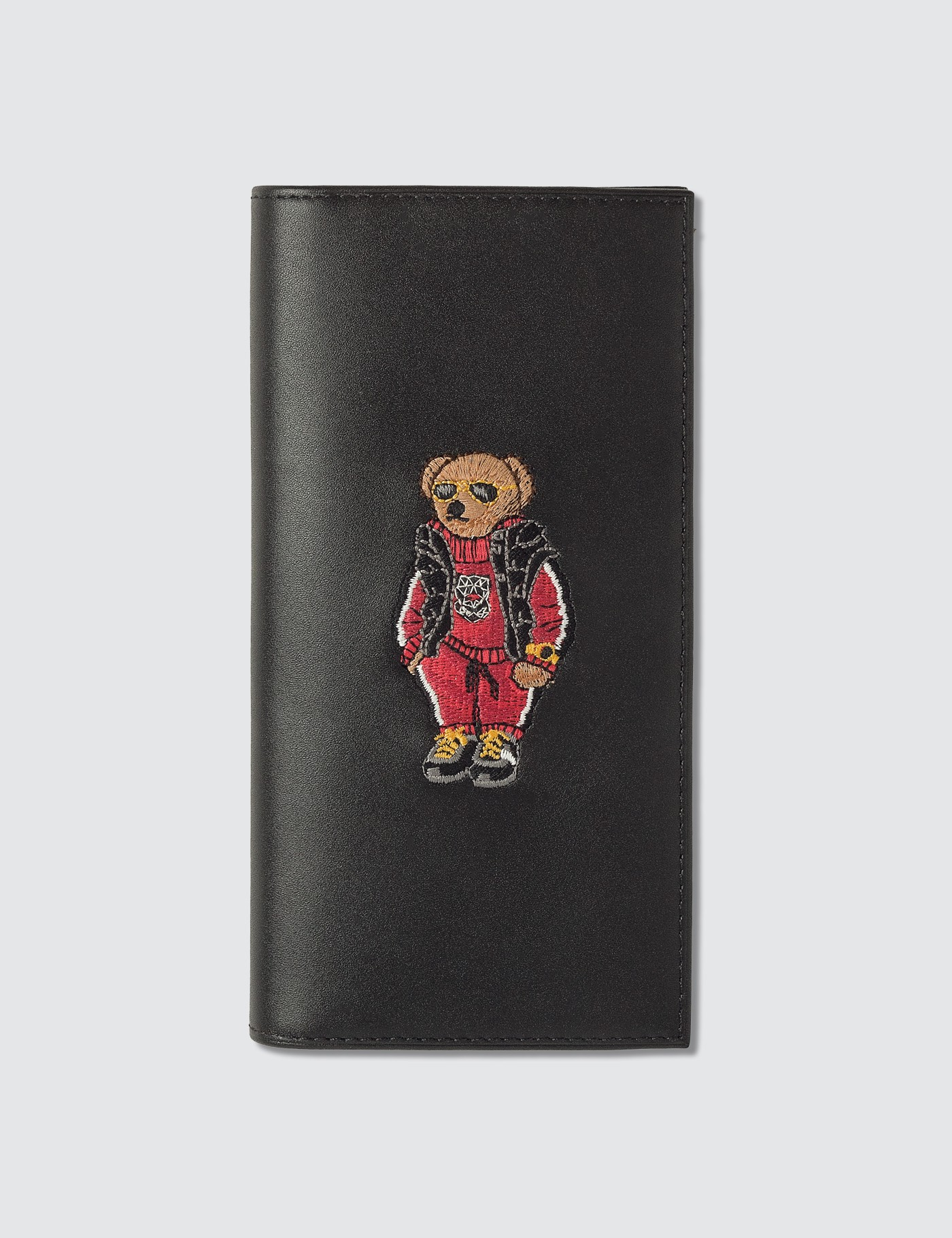 Embroidered Polo Bear Long Wallet