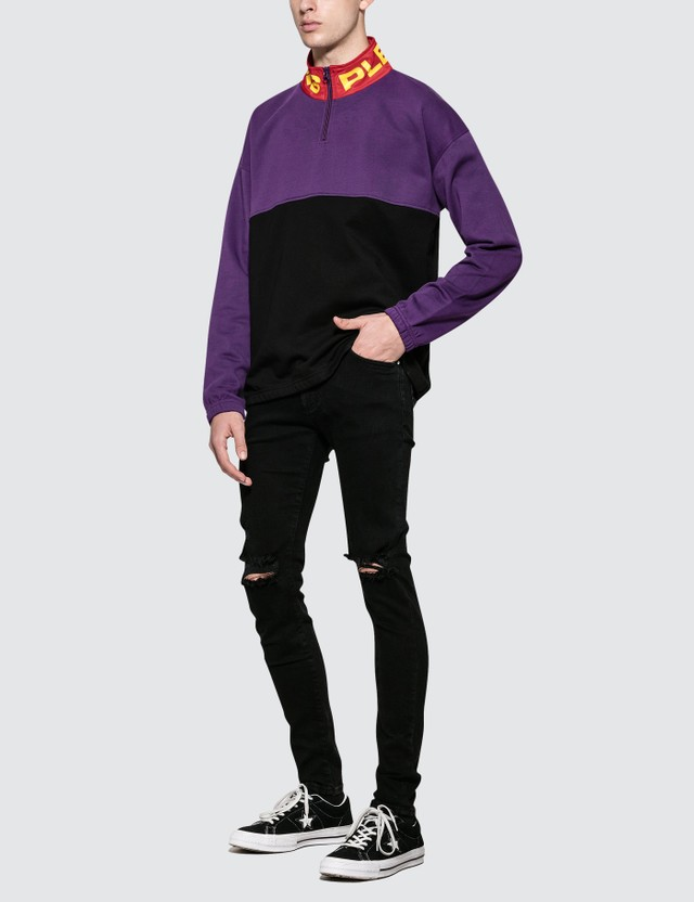 Pleasures Misfit Color Block Half Zip Sweater