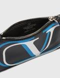 Valentino Valentino Garavani Double V Logo Card Holder Nero/azzurro Fluo-bianco Men