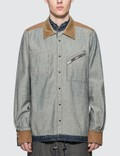 Sacai Velvet Panels Denim Shirt Picutre