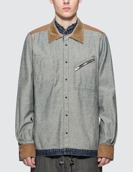 Sacai Velvet Panels Denim Shirt