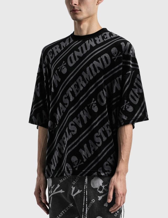 Mastermind World Velour Diagonal Boxy T-shirt Black X Charcoal Men
