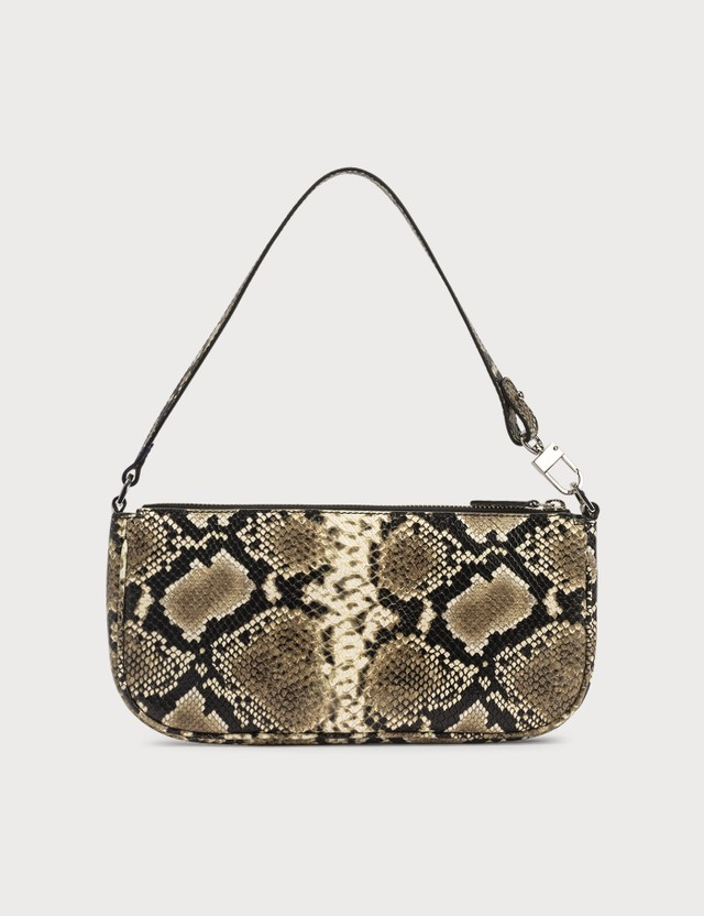 BY FAR Rachel Snake Print Leather Bag