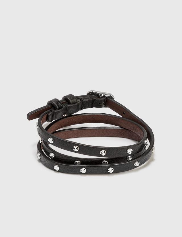 Alexander McQueen Double-wrap Leather Bracelet Black Men