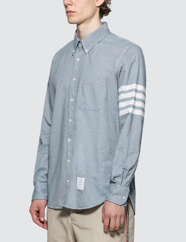 Thom Browne 4-bar Solid Rwb Stripe Shirt