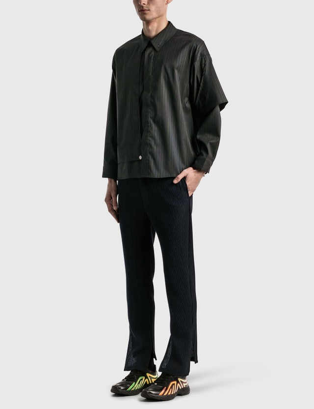 JieDa Silk Stripe Trench Shirt Black Men