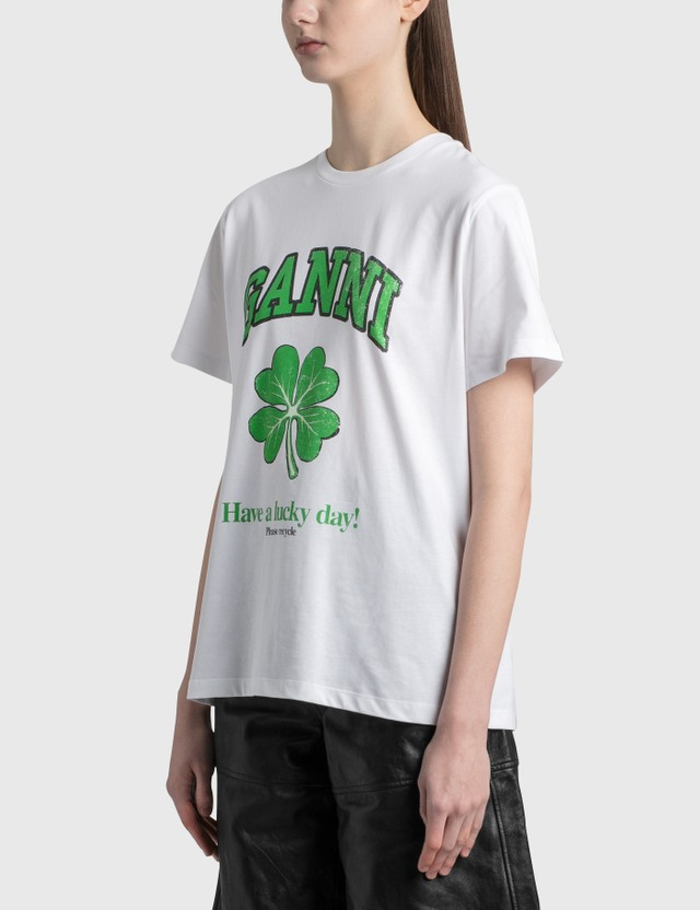 Ganni Lucky Day Basic Cotton Jersey T-Shirt