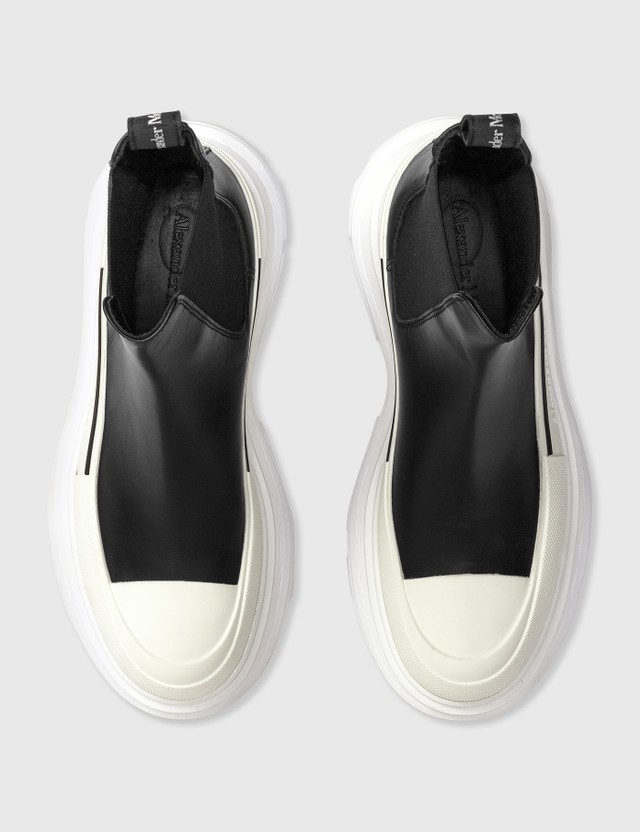 Alexander McQueen Tread Slick Chelsea Boots Black/white/silver Women