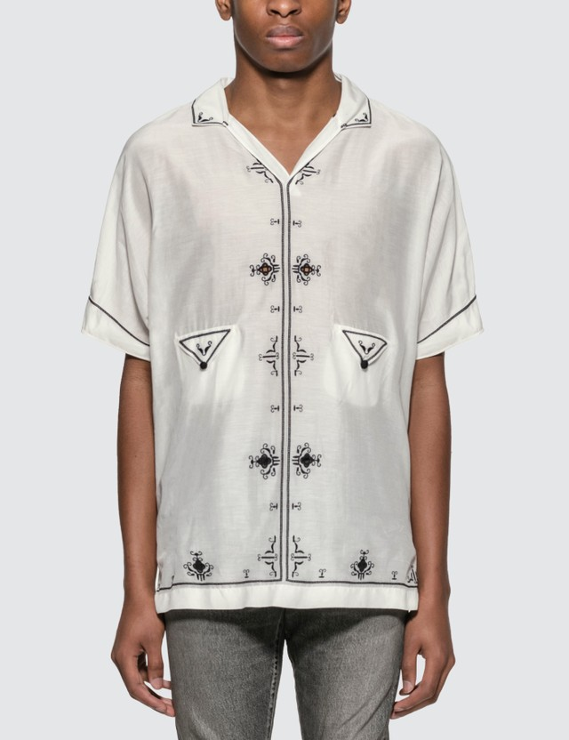 Saint Laurent Lamé Embroidered Tunic Shirt White  Men