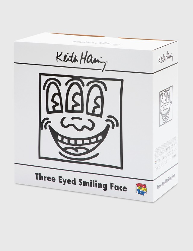 Medicom Toy Keith Haring Three Eyed Smiling Face Statue White Version White Men