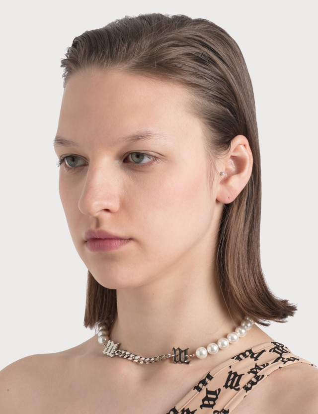 Misbhv M White Pearl And Curb Link Necklace