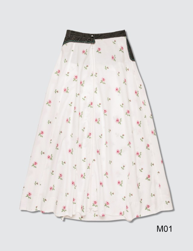 Marine Serre Flower Print Midi Skirt White Flower Print Women