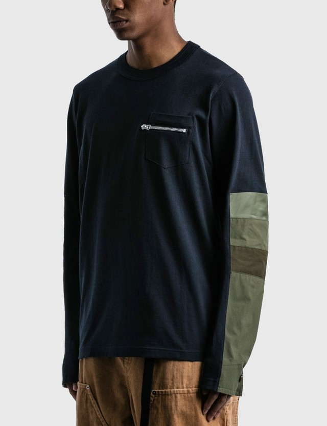 Sacai Cotton Jersey Long Sleeve T-shirt Navy X Khaki Men