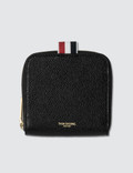 Thom Browne Short Zip Around Card Holder In Pebble Grain Picture