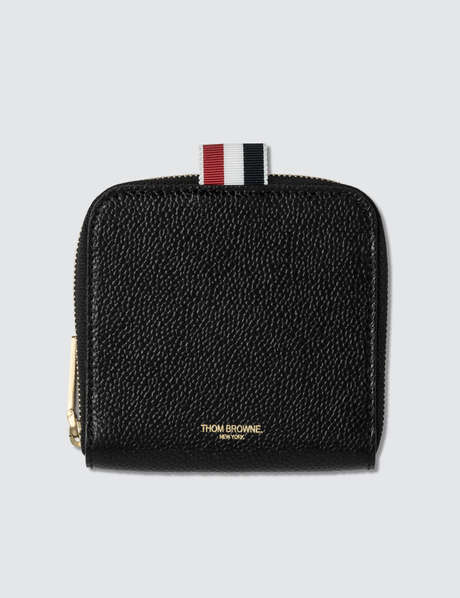 Thom Browne 톰 브라운 Short Zip Around Card Holder In Pebble Grain