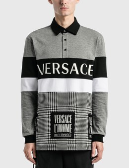 Versace Logo Long Sleeve Polo