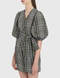 Ganni Seersucker Check Wrap Dress