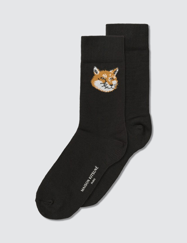 Maison Kitsune Fox Head Socks