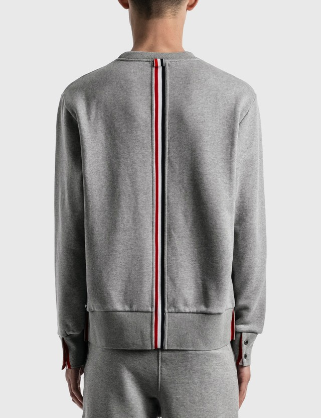 Thom Browne RWB Stripe Crewneck Pullover Light Grey Men