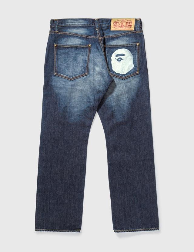 BAPE Bape Washed Ape Print Jeans Indigo Archives