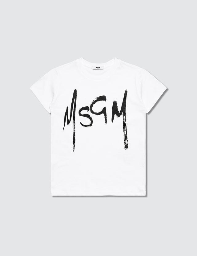 MSGM K's White Brush Stroke Logo Print T-Shirt