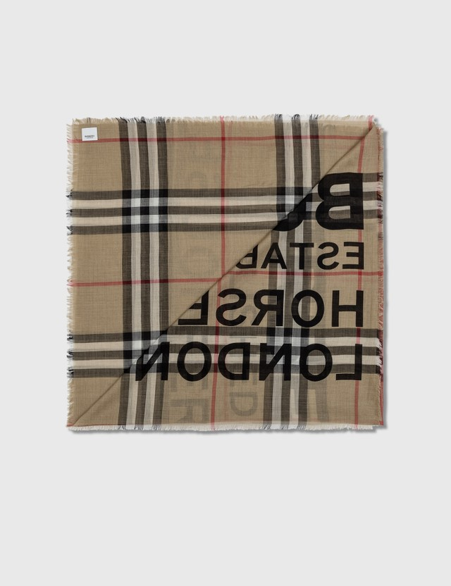 Burberry Horseferry Print Check Wool Silk Large Square Scarf Archive Beige Women