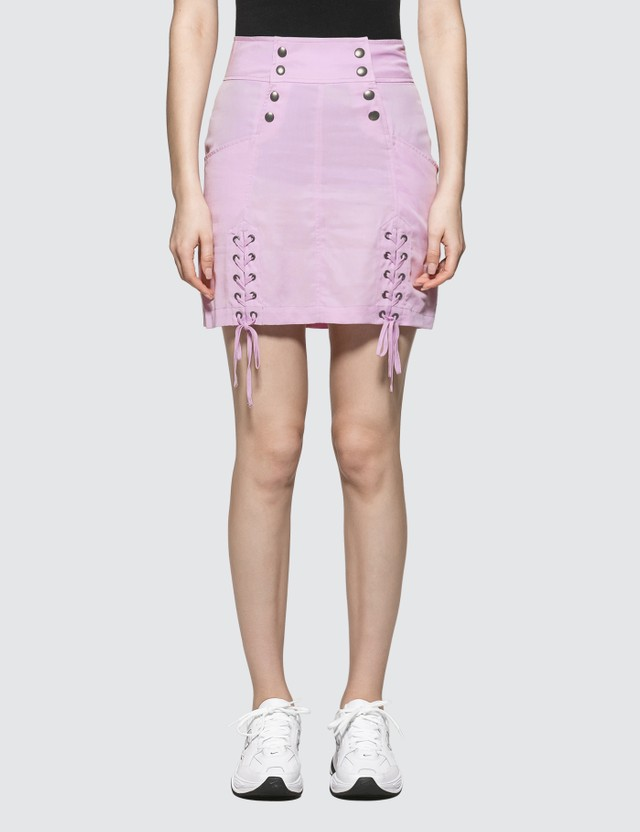 X-Girl Lace-up Mini Skirt Light Purple Women