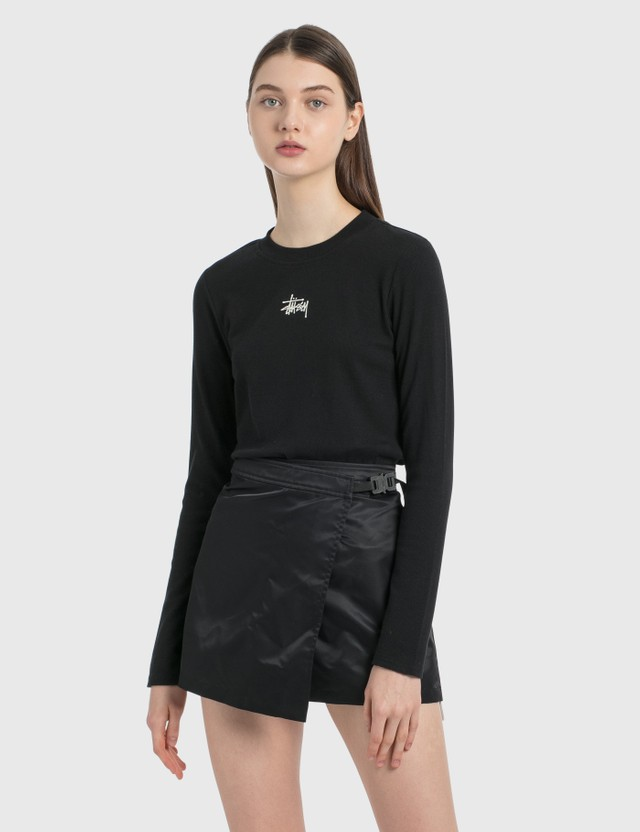 Stussy Baby Rib Long Sleeve T-Shirt Black Women