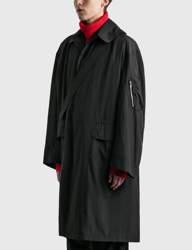 Random Identities Satin Overcoat Black Men