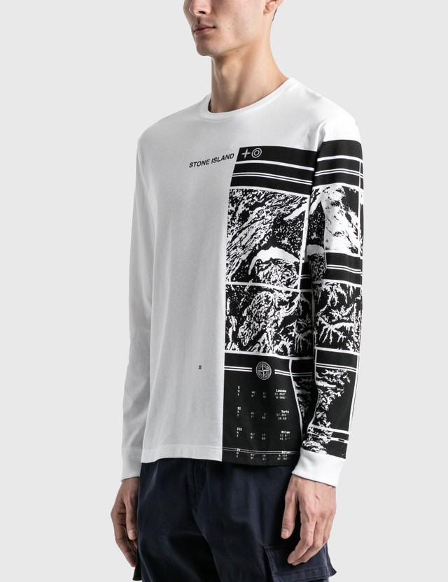Stone Island Mural Graphic Long Sleeve T-Shirt Bianco Men