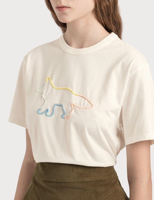 Maison Kitsune Rainbow Profile Fox Embroidery T-shirt