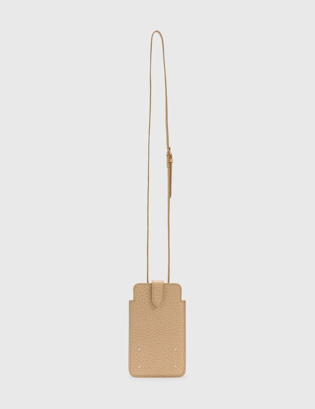Maison Margiela Grainy Embossed Leather Phone Pouch Nude Unisex