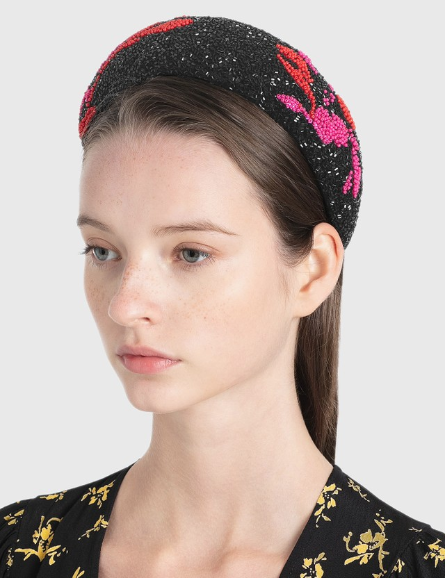 Ganni Padded Beaded Hair Band Black Women