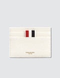 Thom Browne Pebble Grain and Calf Leather Single Card Holder with Tennis Racket Intarsia Picture
