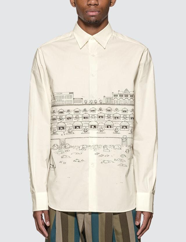 Lanvin Babar Poplin Shirt 1000 Black/white Men