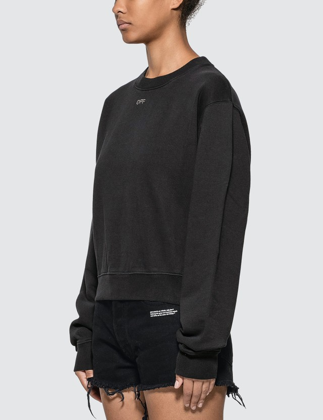 Off-White Crystal Embellished Cropped Sweatshirt