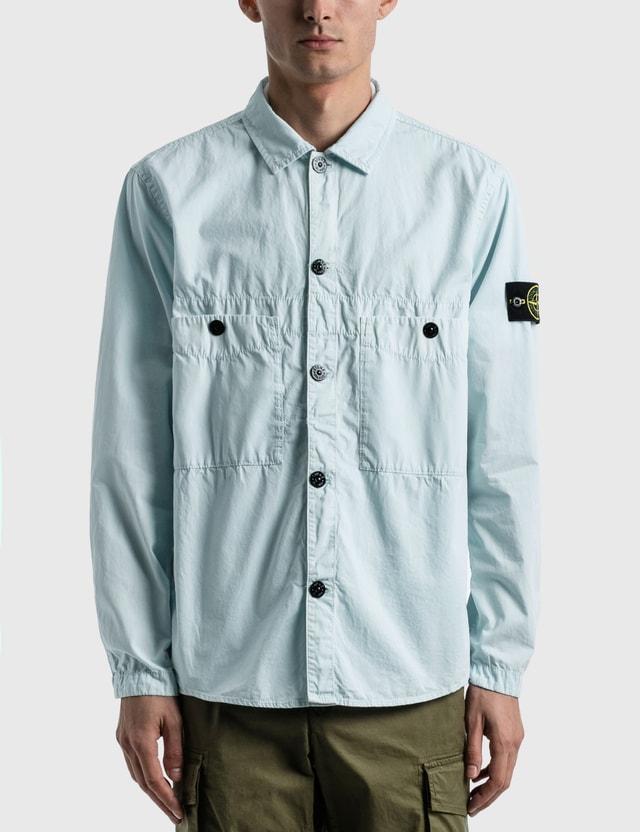 Stone Island Double Pocket Button Shirt Sky Blue  Men