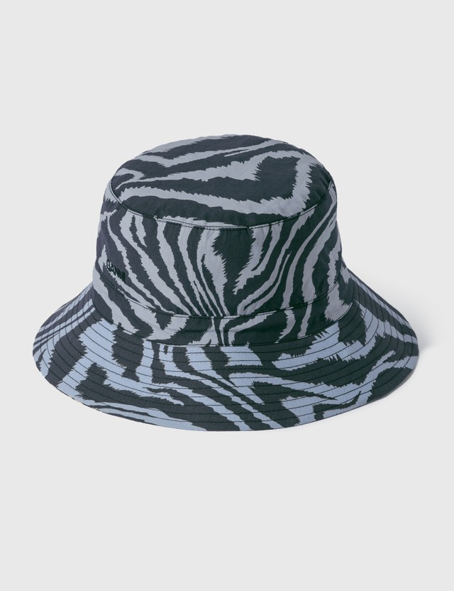 Ganni Printed Cotton Poplin Bucket Hats Forever Blue 681 Women