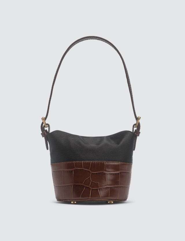 BY FAR Mini Jamie Nutella Croco Embossed Leather And Black Silk Top Handle Bag