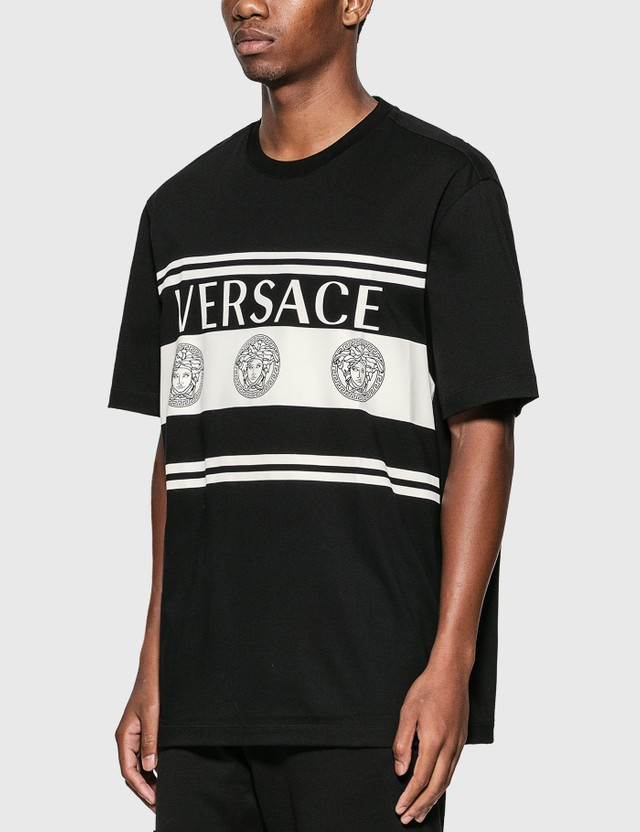 Versace Stripe Medusa Logo T-Shirt Nero Men