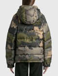 Maison Kitsune Velvet Fox Head Patch Short Down Jacket Khaki Print Women