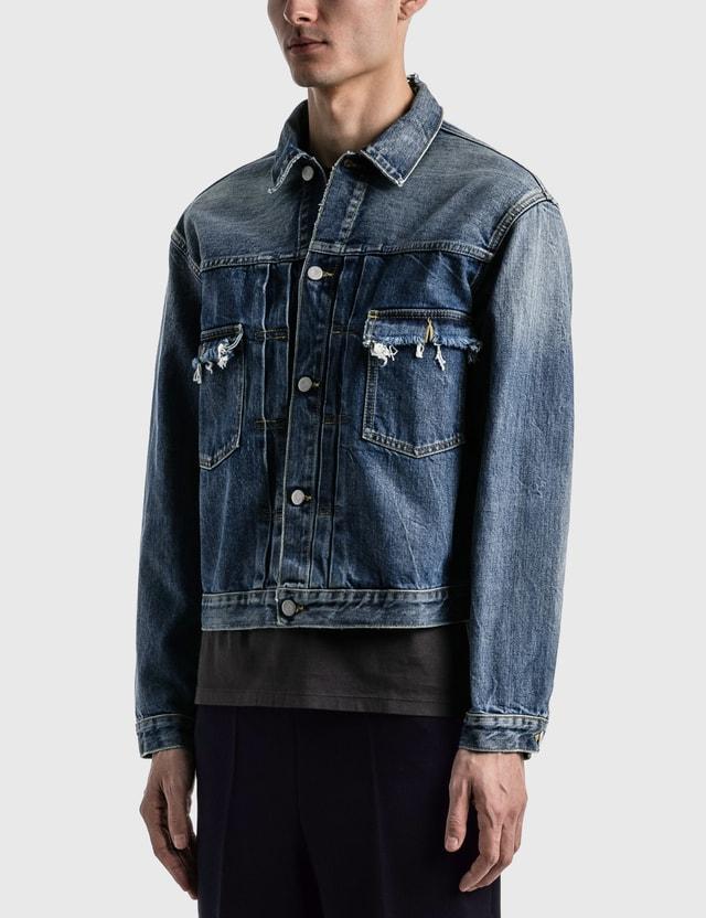 Maison Margiela Destroyed Denim Jacket Vintage Indigo Men